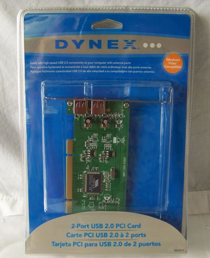 Dynex 2 Port USB 2.0 PCI Card - Windows Vista 2000 XP Compatible NEW External  #Dynex