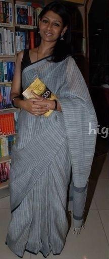 Nandita Das in a Grey Cotton Handloom Saree                                                                                                                                                     More