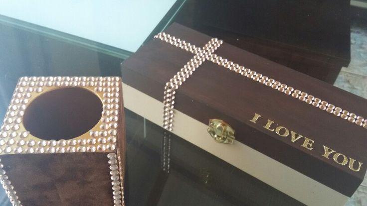 Pen holder &  jewellery box.