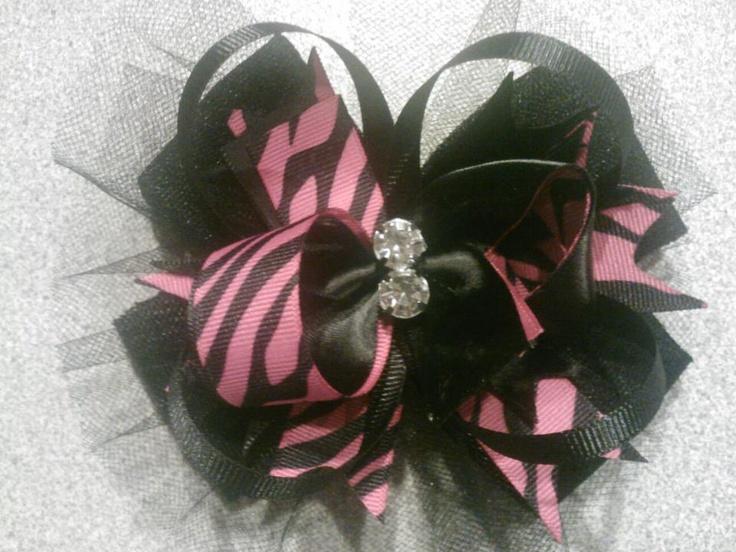 Hot pink and Zebra OTT bow $10  https://www.facebook.com/pages/Tutu-Cute/171729329580274