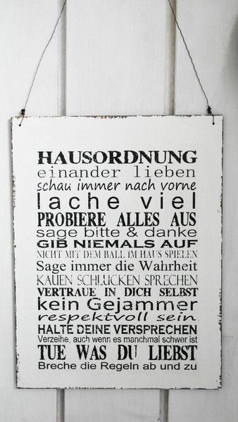 XXL 30x40cm    Shabby Vintage Schild HAUSORDNUNG von homestyle-accessoires via dawanda.com
