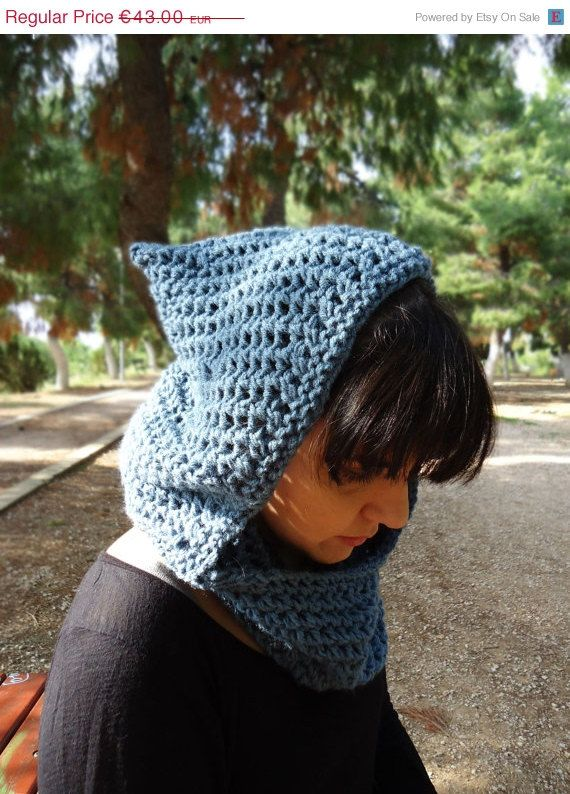 Hooded knit neckwarmer cowl hood knit scarf chunky by AlkistiKnits #hoodedscarf #knitcowl #womensscarf #winterstyle #winteraccessories