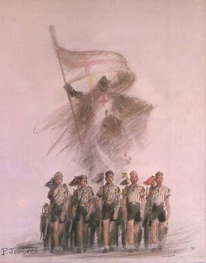 St Georges guidant les patrouilles scoutes