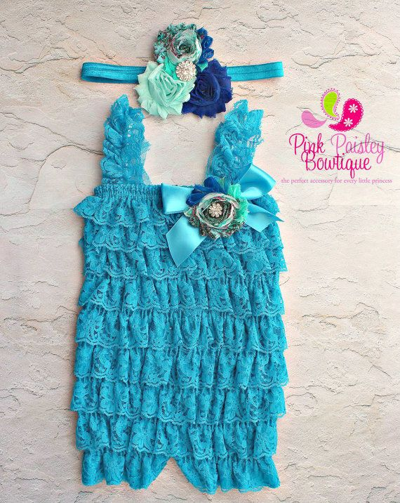 Blue petti lace romper and headband 3 pc SET, Baby girl 1st birthday outfit, Frozen Elsa Dress Outfit, Baby romper, Cake Smash Outfit by Pinkpaisleybowtique, $34.99