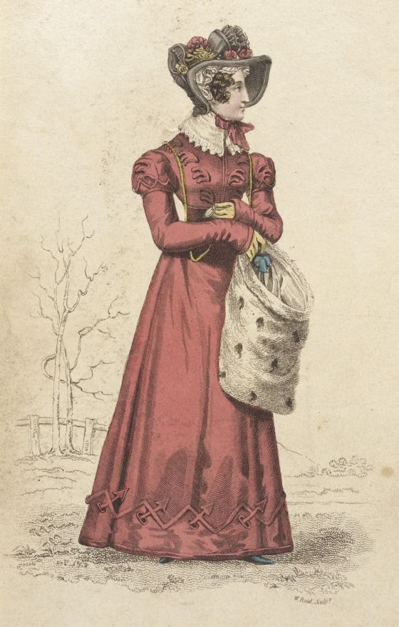 Carriage dress, fashion plate, hand-colored engraving on paper, published London, February 1824.