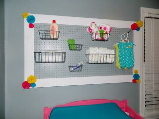 Pegboard nursery organizer - use to organize bath stuff
