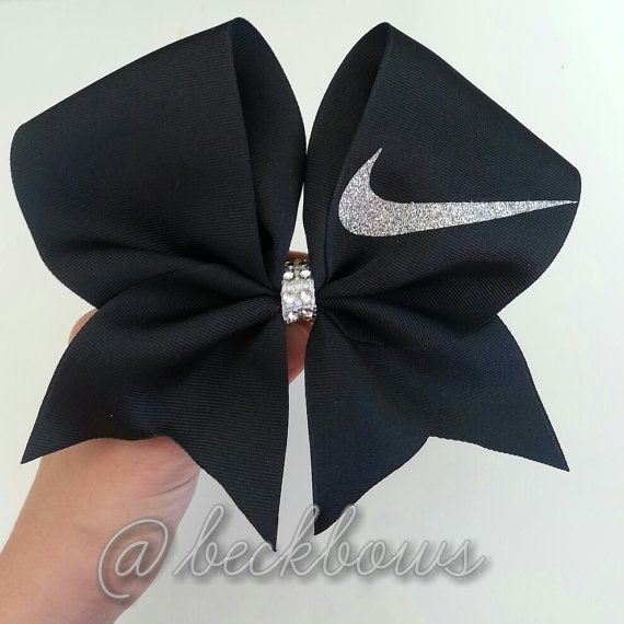 Pink with Sparkly Nike Swoosh 3 Cheer Bow by beckbows on Etsy