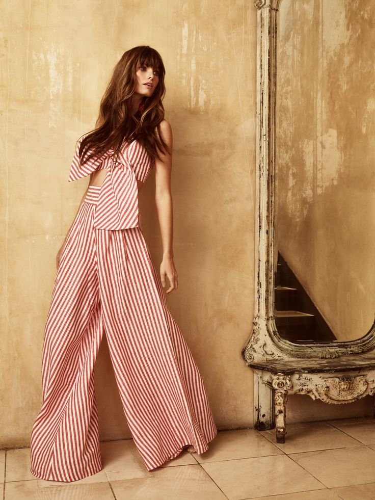 Johanna Ortiz bow crop and wide leg pants