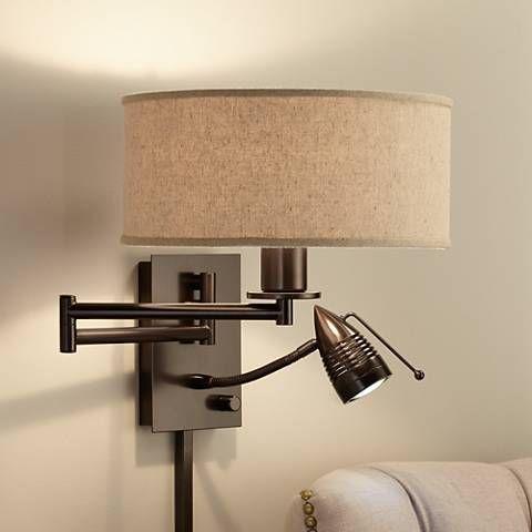 Guest Room Possini Euro Radix Plug In Tiger Bronze Swing Arm Wall Lamp
