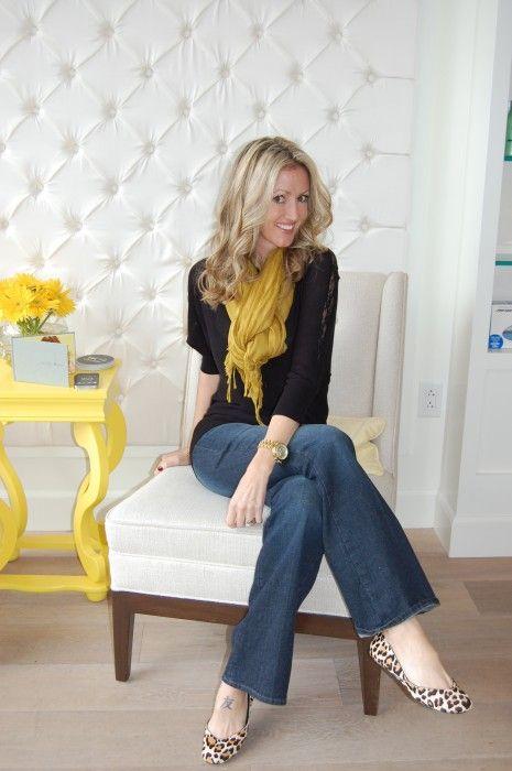 yellow dress apple print scarf