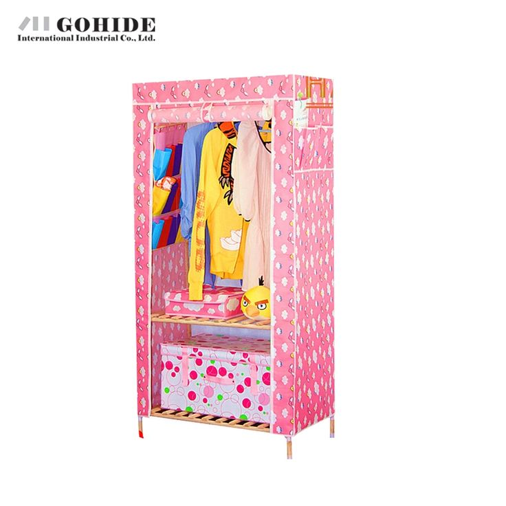 135.40$  Buy here - http://alit74.worldwells.pw/go.php?t=32600779398 - Gohide Solid Wood Simple Non-Woven Folding Wardrobe A Variety Of Styles Available Home Furniture Bedroom Furniture Wardrobes 135.40$