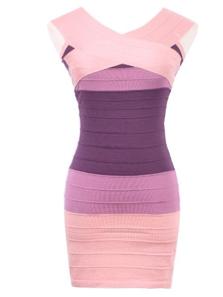 Delicate Off Shoulder Contrasting Color Bodycon-dress Bodycon Dress from fashionmia.com