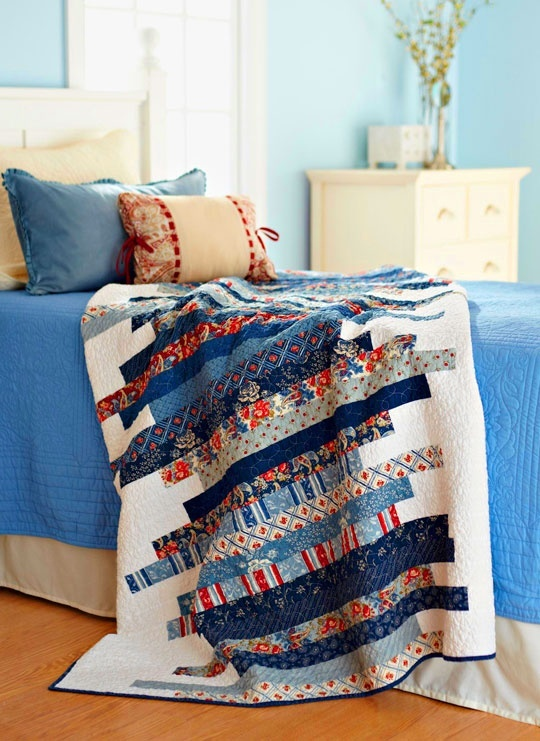 Skinny Strips Quilt red-white-and-blue