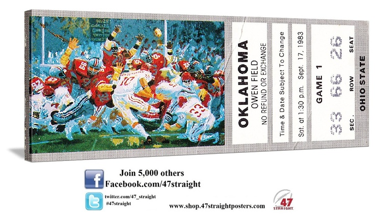 College football art. 1983 Ohio State vs. OU football ticket art on canvas. Great college football art for a game room or office. Perfect Father's Day Gift for college football fans. Available soon. #47straight