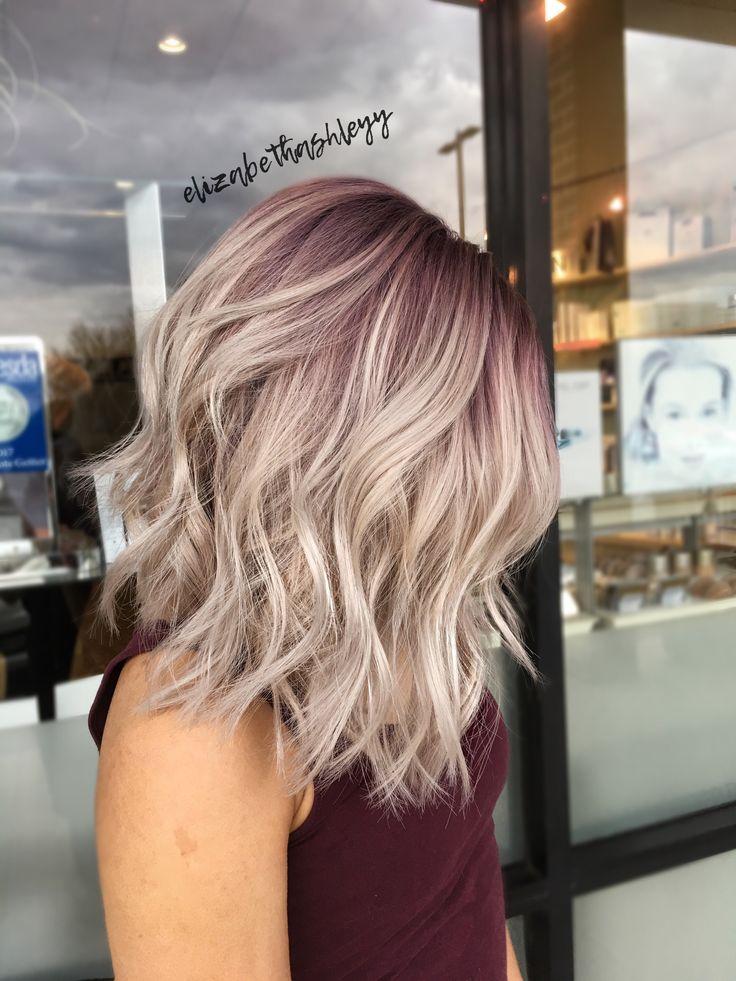 Rooty blonde | purple root | pink root | purple into blonde | A-line bob | Lob haircut | elizabethashleyy