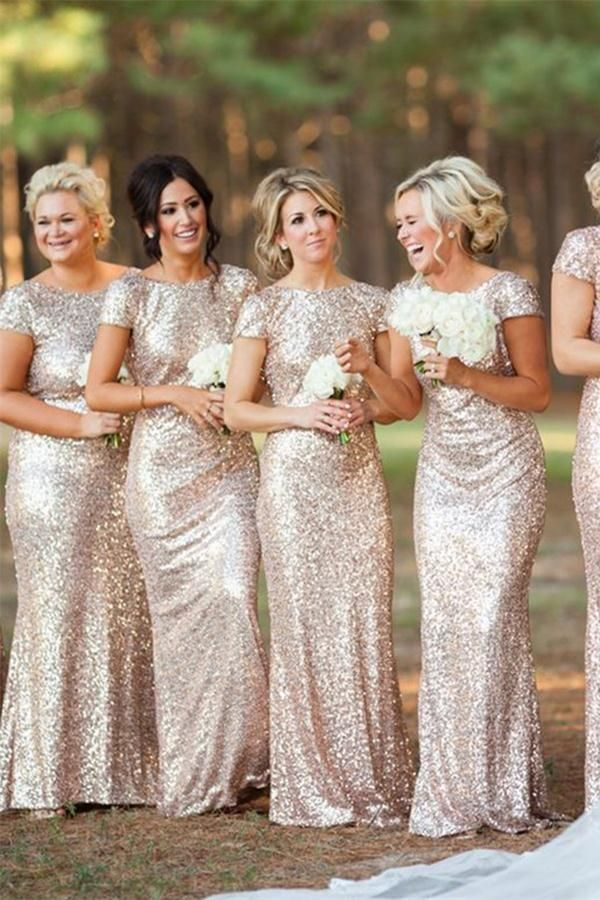 ce187d13b56 Cap Sleeves Sparkly Sequin Shiny Long Sheath Backless Bridesmaid Dresses  Z1391