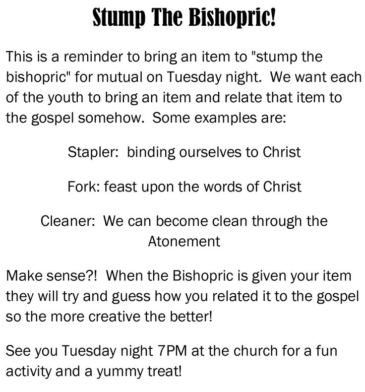 Stump The Bishopric Invite YM/YW Combined activity