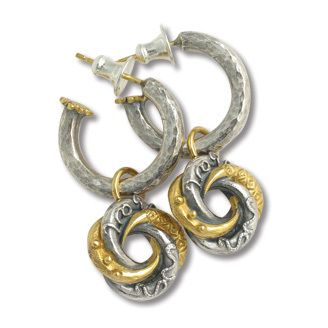 Hoop with mini love knot drop earring by Sophie Harley London. Silver & 22ct gold plate.