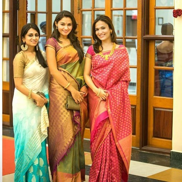 Actress Andrea Jeremiah wedding saree style. She looks traditional in silk saree.