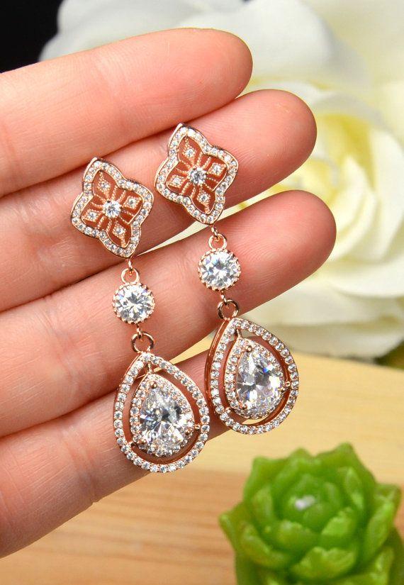 Wedding earringsRose Gold Bridal earrings by thefabbridaljewelry