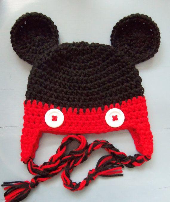 Baby Boy Crochet Mickey Mouse Beanie Hat SIZE 12 by wadamska, $20.00