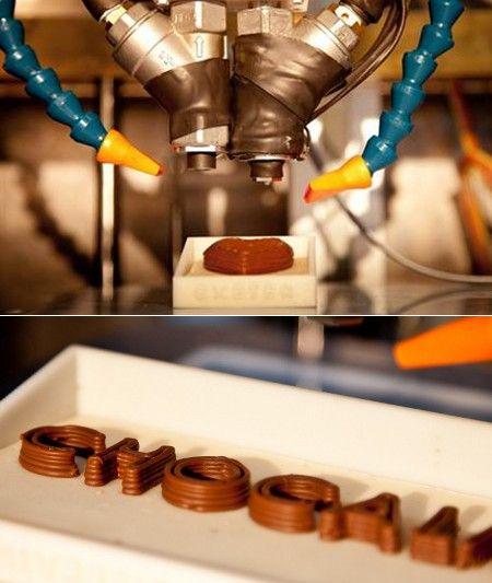 A 3D printer that prints in chocolate.Join the 3D Printing Conversation: http://www.fuelyourproductdesign.com/