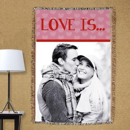 Personalized Love Is...Photo Tapestry Throw