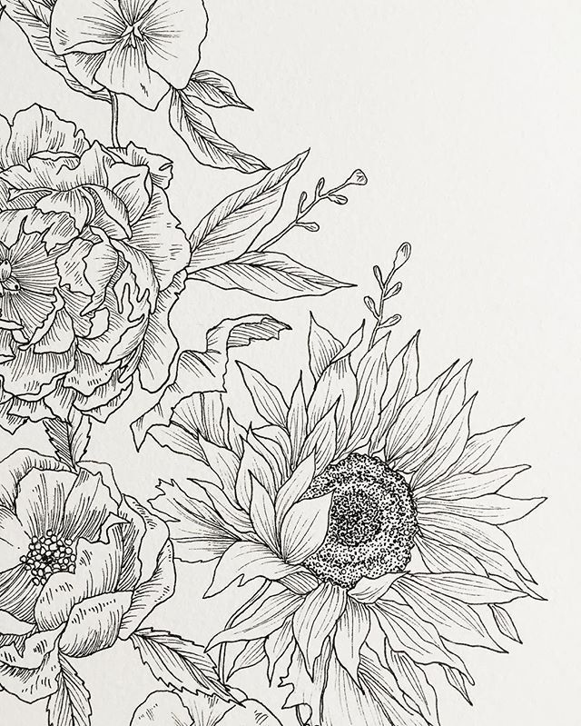 Next Tattoo Idea Sunflower And Pansy Detail Instagram Art Inspiration Floral Drawing Flower Drawing