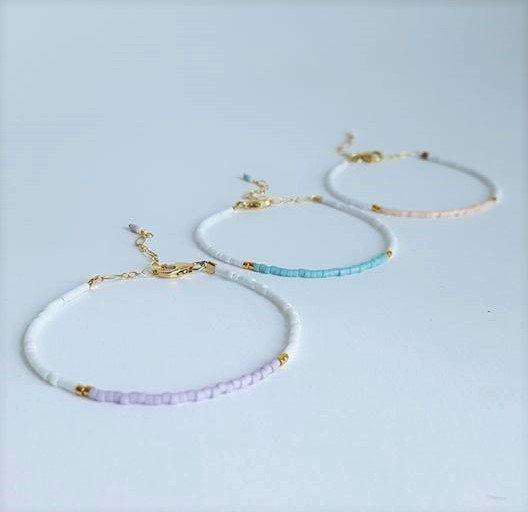 Color Blocked Beaded Bracelets // Minimalist Stacking Bracelets // Pastel Color…