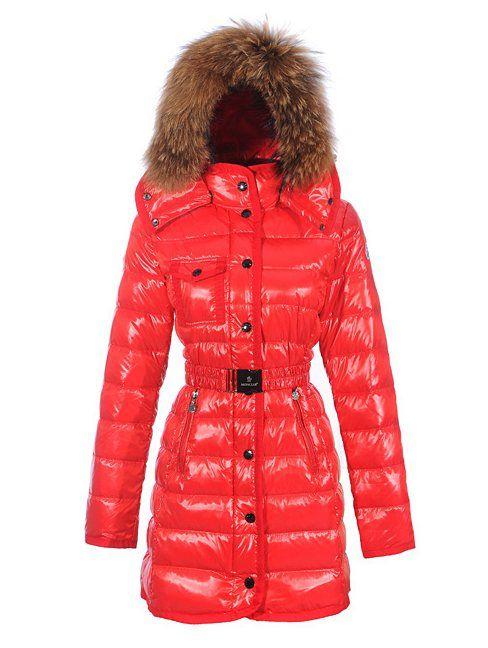 Moncler jacken - Moncler Lange Armoise Damen Fur Collar Daunenjacken Rot Elegant