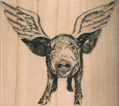 When pigs fly.  Pig with wings  .  art stamp    Measures:    4 1/2 x 4 3/4 inches  UNMOUNTED RUBBER STAMP  THIS STAMP IS AVAILABLE IN A SMALLER SIZE HERE:  https://www.etsy.com/listing/190103973/small