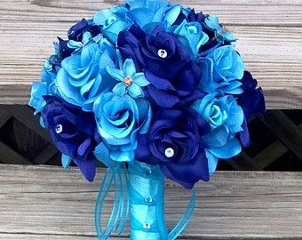 Royal Blue Rose White Lily Wedding Bouquet by SilkFlowersByJean