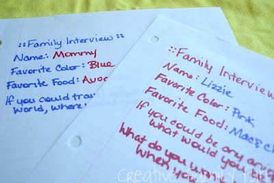 I'm a big fan of Family Fun Nights and a Family Interview Night is a great way to connect and get to know each other better. What questions would you ask?: Nights Family Interview, Family Time, Family Night, Interview Night, Family Fun, Family Interviews, Fun Nights Family