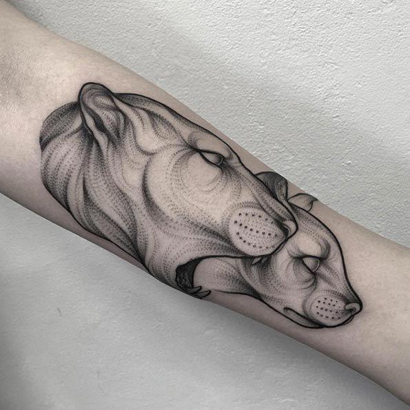 Blackwork Lions by Parvick