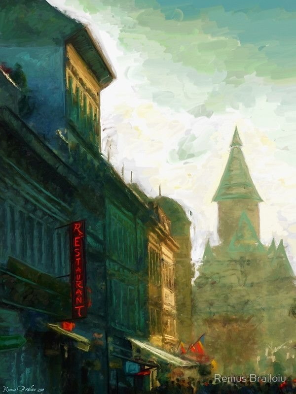 """""""Timisoara"""" Photographic Prints by Remus Brailoiu. Digital impressionist painting depicting a street leading to Victory Square in Timisoara, Romania. With the metropolitan cathedral visible in the background. 