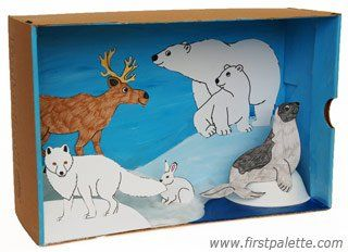 FREE-Polar Habitat Diorama craft: Learn all about Arctic and Antarctic animals and their natural habitat by constructing a shoebox diorama.