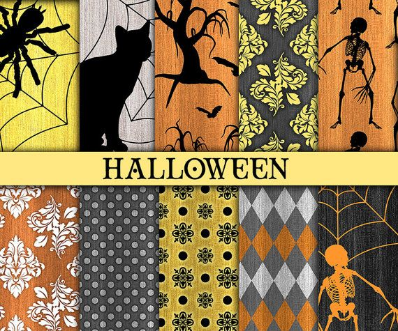 Halloween digital paper Halloween printable paper Halloween scrapbook paper Rustic halloween paper Commercial use by DigitalCSPrintables