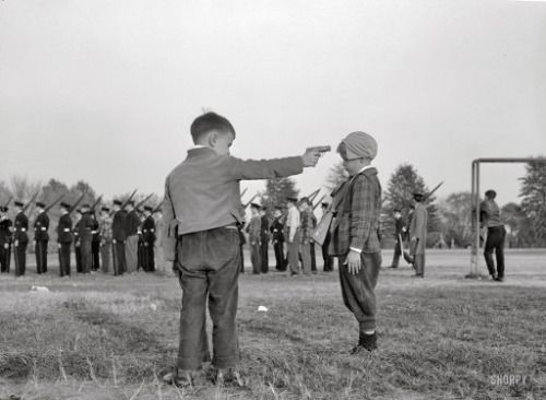 Esther Bubley :: Boys playing while watching the Woodrow Wilson high school cadets, Washington DC, October 1943 [for Office of War Information]