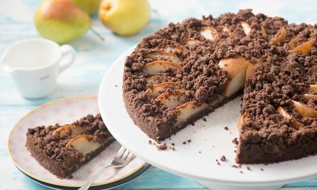 Chocolate and pear crumble cake