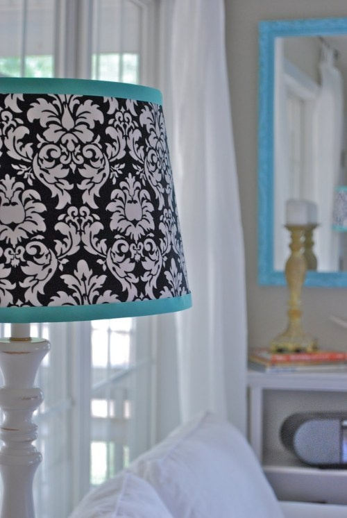 black, white, and teal lamp shade