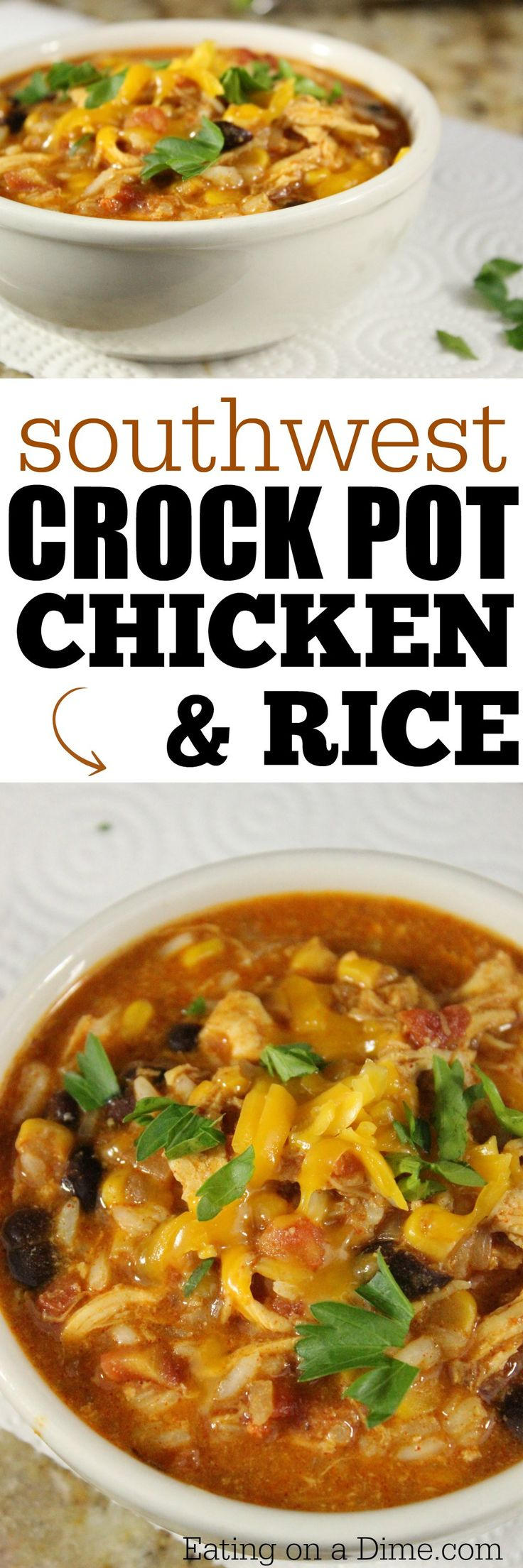 Southwest Crock Pot Chicken and Rice recipe.  I have a delicious and super easy crock pot freezer meal. You are not going to believe how easy this is to make. If your family is anything like mine, this is going to become a go-to meal.
