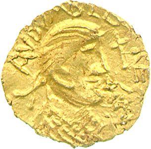 Merovingian: Gold tremissis of Eadbald King of Kent (604-40), London, c. 630, reading AVDVARLÐ REGES (King Eadbald). Lent by Lord Stewartby.