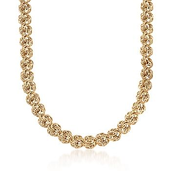 14kt Yellow Gold Textured Rosette-Link Necklace