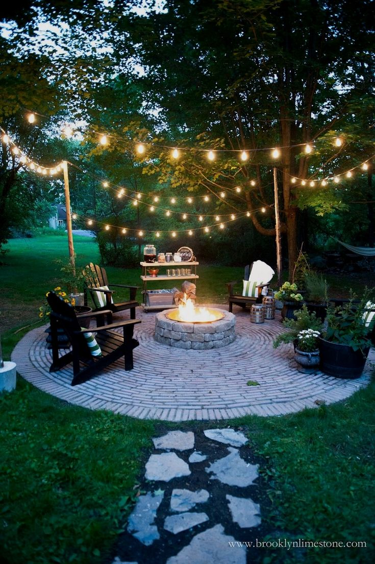 Cozy Outdoor Fire Pit and String Lights #GardenIdeas