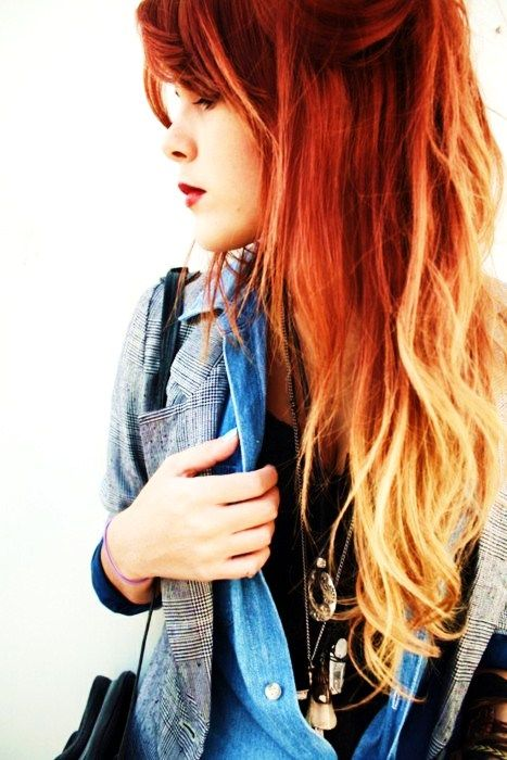 ombre hairHair Colors, Ombre Hair Color, Red Hair, Dips Dyes, Ombrehair, Hair Style, Red Ombre Hair, Redhair, Hair Trends