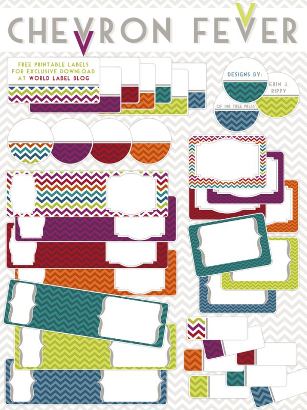 35 SHEETS of FREE PRINTABLE LABELS!  #CHEVRON