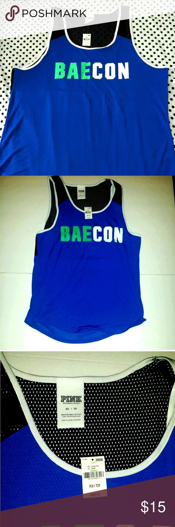 #PINK by Victoria Secret tank top mesh NWT #VictoriaSecret #PINK tank top Brand new with tags from the pink store by Victoria Secrets is the ultimate material tank top with mesh black backing and Royal blue fabric. It says #Bae con on the front-a play on the word #Bae (Before Anyone Else) and Bacon. Size L, size XS, and size S. Retail price $26.95. PINK Victoria's Secret Tops Tank Tops