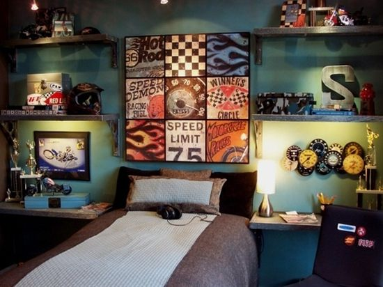 'Speed Demon' Collection - Photo 1 - The t - 'Speed Demon' Collection - Photo 1 - The thrill of speed and the rush of competition are explored in this teen bedroom. The theme reflects a love of dirt bikes, cars and vintage memorabilia. Since this boy