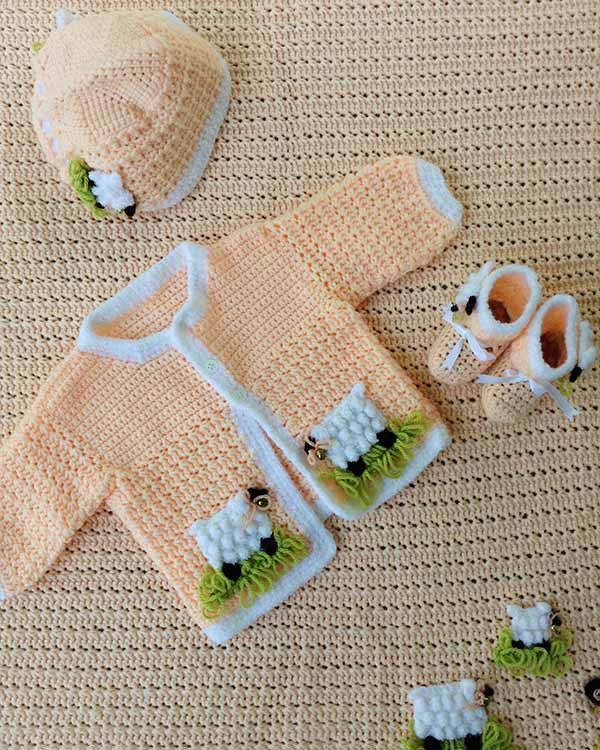 Watch the Lambie Pie Layette Crochet Pattern product review! Design by: Vickie Bussard and Maggie Weldon Skill Level: Intermediate Size: 6 months Materials: Baby Sport Yarn; Peach (MC) – 17 oz, 1,736