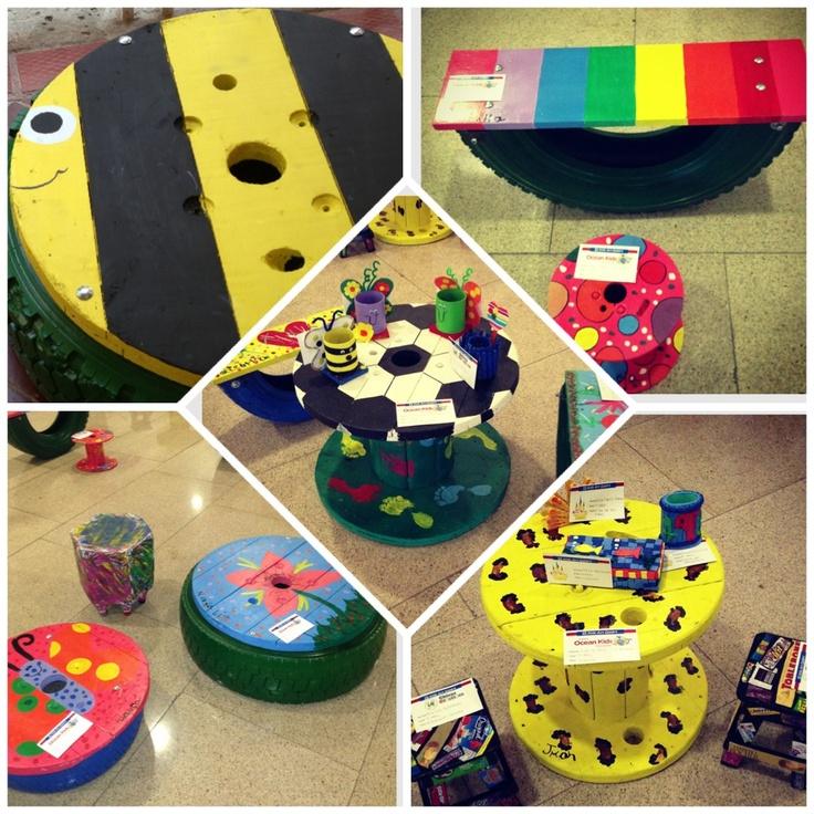 Llanta mesa, mesa carrete y balancín: TODO hecho en material reciclado (carretes y llantas) ♻❤